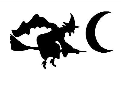 Witch On A Broom Halloween Haunted Removable Vinyl Wall Art Decal Sticker Decor