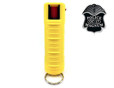 Police Magnum pepper spray .50oz yellow molded keychain self defense security
