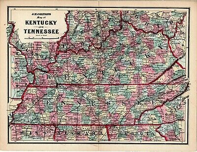 1839 TN MAP Lawrenceburg Lebanon Lenoir City Lewisburg Tennessee History HUGE