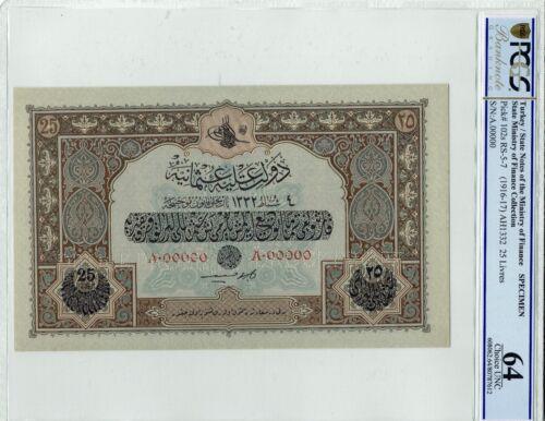 Ottoman 25 Livre Specimen PCGS Graded 64