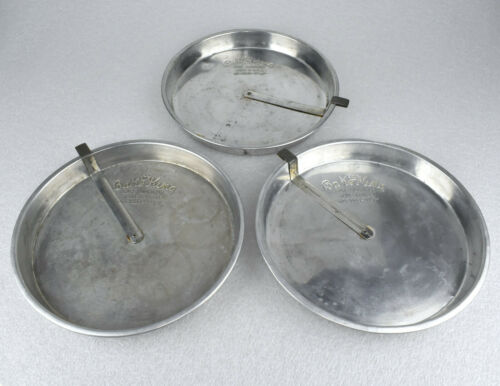 "Three VTG Bake King 9"" Aluminum Metal Round Pie Plate Pans Quick Release Slider"
