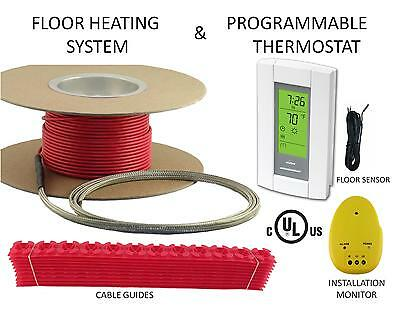 Energized FLOOR HEAT TILE HEATING SYSTEM WITH GFCI DIGITAL THERMOSTAT 50 sqft