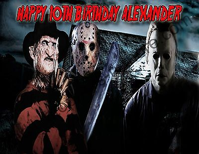 Freddy/Jason/Michael Personalized Edible Print Cake Topper Frosting Sheet 5 Size](Michaels Cake Toppers)