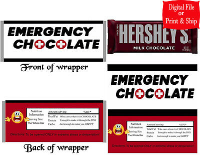 20 Personalized EMERGENCY CHOCOLATE Printed Candy Bar Wrappers w/Foil or D - Personalized Chocolates