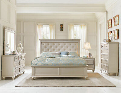 NEW Pearl Silver Bedroom Furniture - 5pcs Queen Leatherette Panel Bed Set IA4L