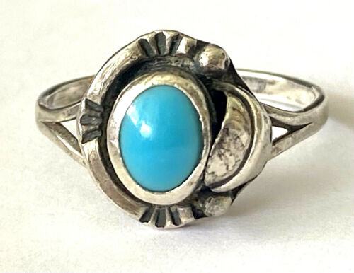 Vintage Turquoise Ladies Ring Sterling Silver 925 Mexico FIS Size 8.25