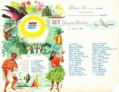 Hawaii United Airlines (Vintage 1957 Advertising United Airlines DC-7 Hawaii Mainliner Passenger List)