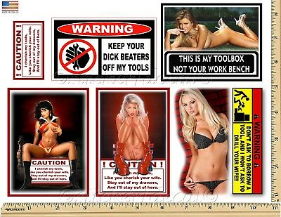 - Funny Warning Stickers - Complete set of 6 Decals - Sexy Girl Tool Box MADE USA