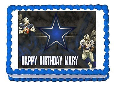 DALLAS COWBOYS FOOTBALL party edible cake image cake topper frosting decoration](Dallas Cowboys Cake Topper)