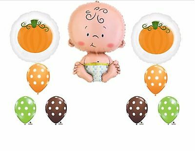 Cutest Lil Little Pumpkin in the Patch Fall Baby Shower Party Balloons Supplies - Baby In Pumpkin