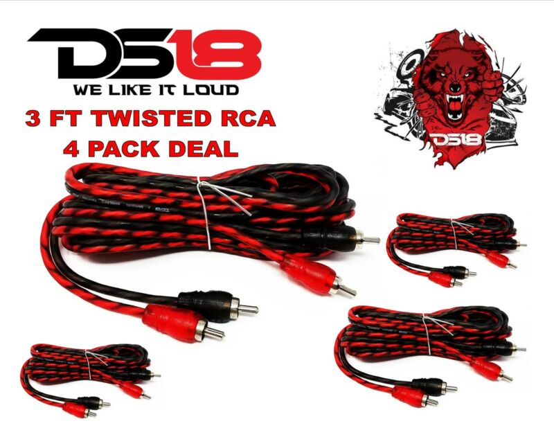 DS18 RCA3FT 3 ft 2 Channel Shielded Twisted RCA Audio Cable Amp Cables 4 Pack
