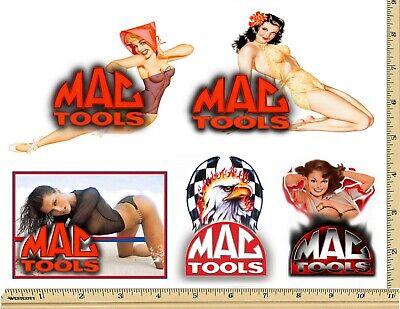 Girl Sticker Set (MAC TOOLS STICKER SET of 5 GLOSSY DECALS MECHANIC TOOL BOX SEXY PINUP GIRLS)