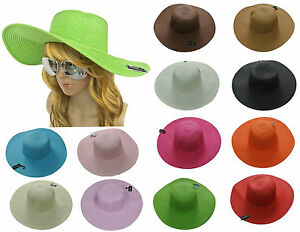 Women-Colorful-Derby-Large-Floppy-Folderable-Straw-Beach-Hat-USA-SELLER