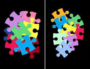 Scrapbooking autism awareness giant puzzle pieces wall for Decoration or embellishment crossword