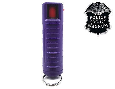 Police Magnum pepper spray .50oz purple molded keychain self defense security