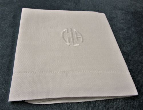 Antique Nubby Linen Towel Circular CLA Monogram Hemstitched Excellent Condition