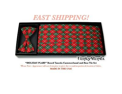 HOLIDAY PLAID Tuxedo Cummerbund and Bow Tie Set NEW CBP5 Holiday Plaid Bow Tie