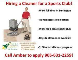 HIRING FULL TIME SPORTS FACILITY CLEANERS: DAYS OR AFTERNOONS!