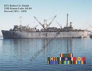 USS SIMON LAKE AS-33 Personalized GLOSSY Paper Print * US Navy * Sub Tender