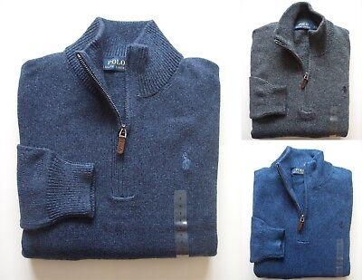 Ralph Lauren Mock Neck - Men Polo Ralph Lauren Half Zip MOCK NECK Cotton Sweaters - All Sizes