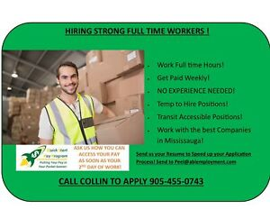 Long Term Positions in Mississauga! Warehouse Workers Needed!
