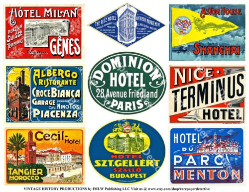 Travel Luggage Labels, 2 Sticker Sheets, Retro Hotel Decal, Vintage REPRODUCTION