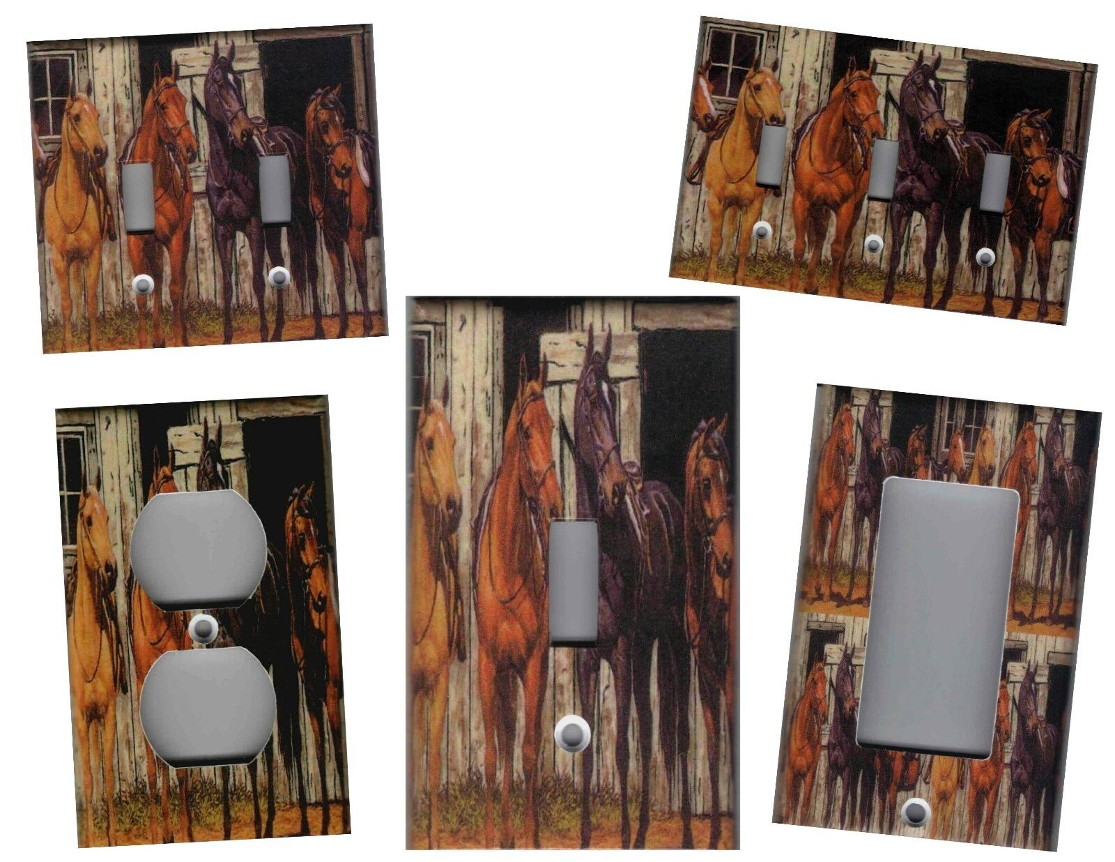HORSES AT RUSTIC BARN HOME DECOR LIGHT SWITCH PLATES AND OUT