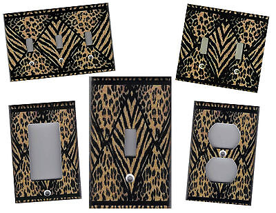 LEOPARD AND TIGER ANIMAL IMAGE HOME DECOR LIGHT SWITCH PLATES AND (Leopard Light)