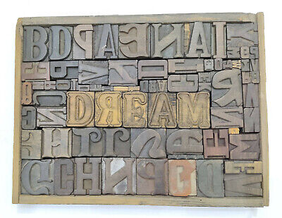 Letterpress Wood Types Collage Dream 72 Vintage Mixed Types For Decor Gift Tc31