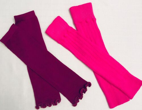 2 PAIR Girls Leg Warmers~Dance, Gymnastics~Burgundy and Pink~READ DETAILS!
