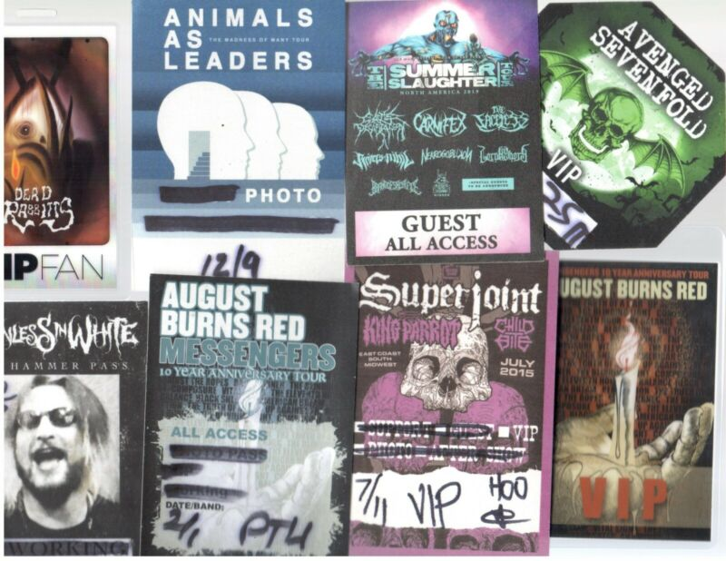 Show Passes Lot of 8! Metal Animals As Leaders Avenged Sevenfold Superjoint