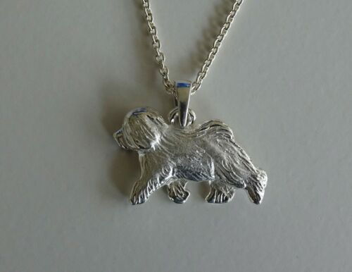 Small Sterling Silver Old English Sheepdog Moving Study Pendant