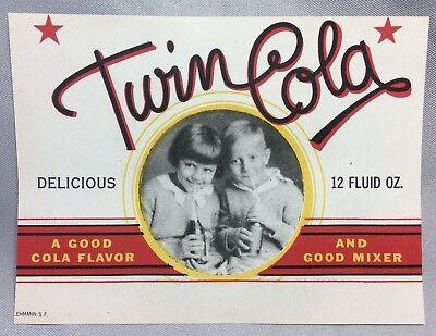 TWIN COLA Soda Bottle LABEL Vintage Original