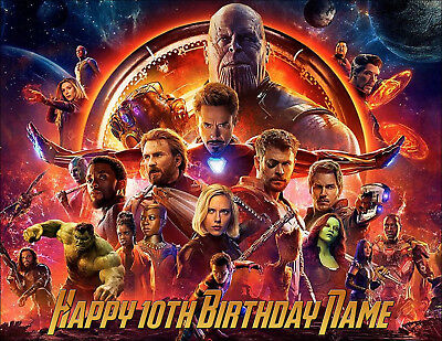 EDIBLE Avengers Infinity War Cake Topper Birthday Party Wafer Paper 1/4 Sheet