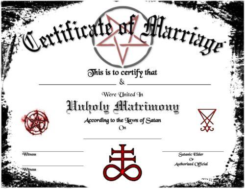 Satanic Certificate of Marriage Wedding Love Devil Goth Soul Pagan Spirit Magic