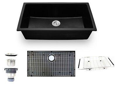 "33"" Undermount Black Granite Composite Single Bowl Kitchen Sink Drop-in New"