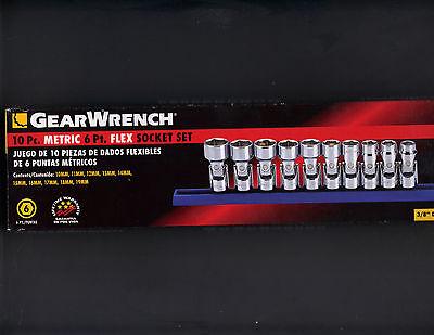 """Gearwrench 10pc 3/8"""" Metric 6pt flex socket set NEW 10-19mm swivel 80565"""