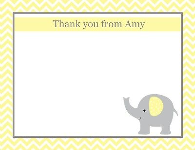 Personalized Baby Shower Thank You Cards (20 Personalized Thank You Cards  -  Yellow Elephant Baby Shower Thank)