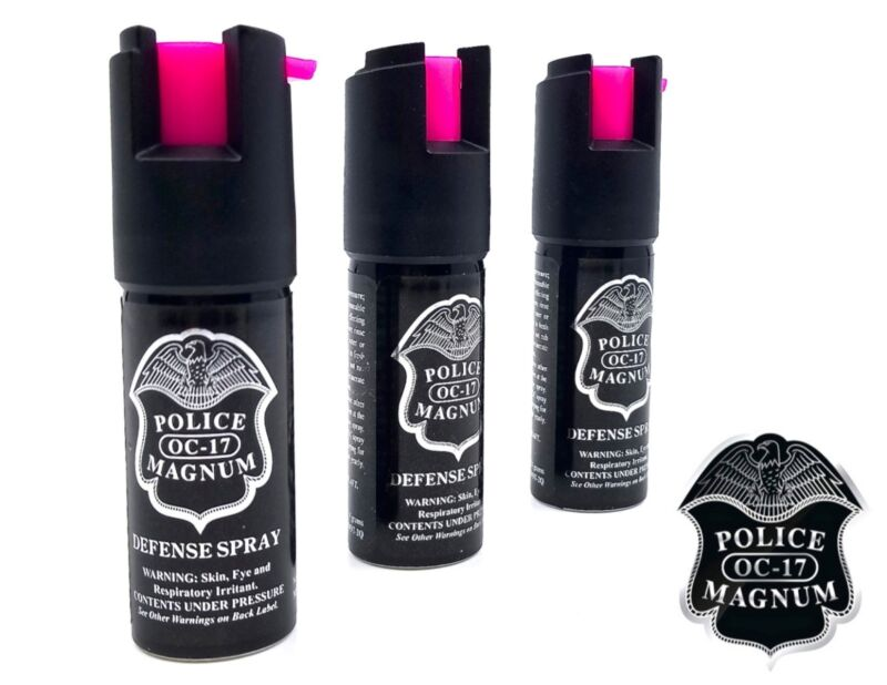 3 PACK Police Magnum pepper spray 1/2oz HP Safety Lock Personal Defense Security