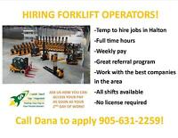 FORKLIFT JOBS IN BURLINGTON - NO LICENSE NEEDED!