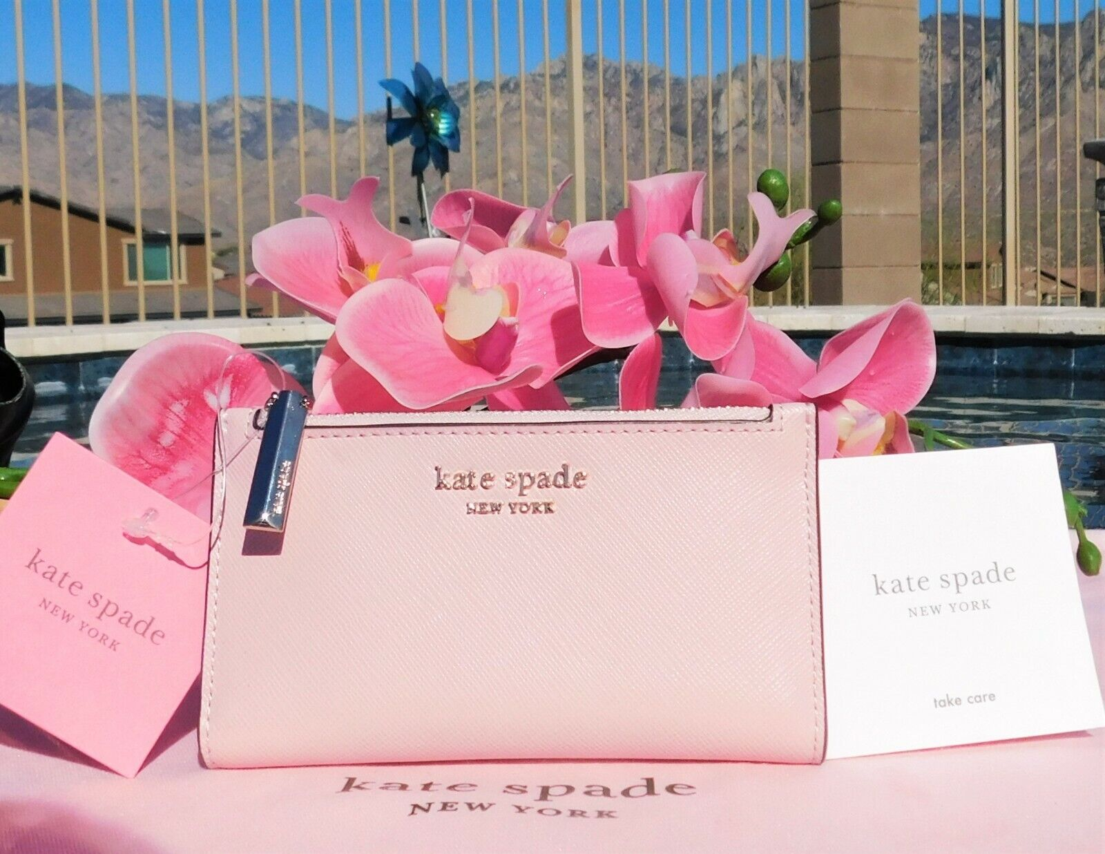 🌸 NWT kate spade Spencer Small Slim Bifold Leather Wallet Tutu Pink New 🌸