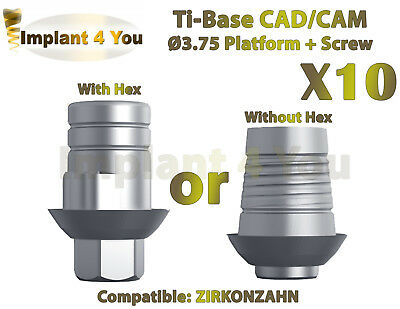 X10 Dental Implant Cadcam Ti-base With Hexwithout Hex Zirkonzahn Compatible