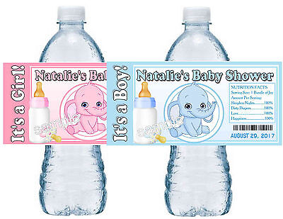 20 BLUE ELEPHANT OR PINK ELEPHANT BABY SHOWER FAVORS WATER BOTTLE LABELS GLOSSY