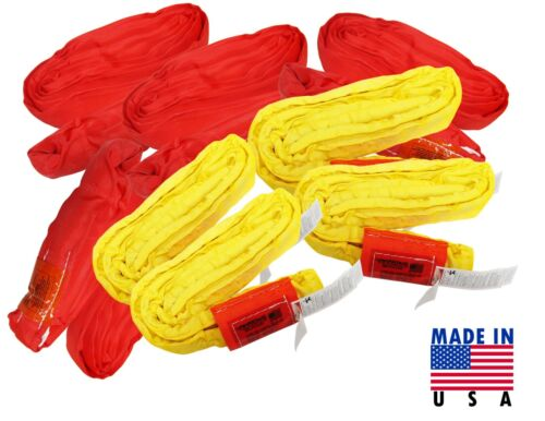 USA Endless Round Sling Wrecker Recovery Kit Yellow 8400 lbs Red 13200 Crane USA
