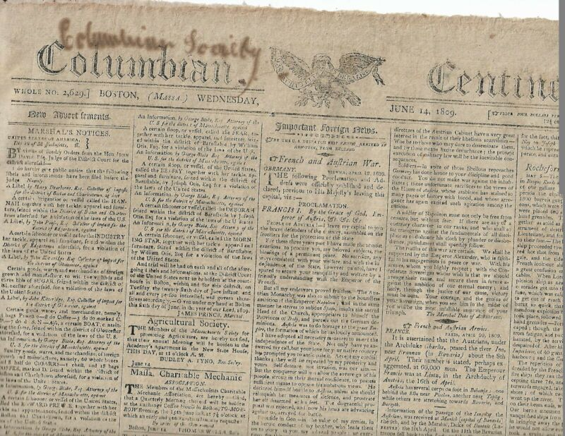 PAUL REVERE & SON AD FOR COPPER, BOLTS. ETC. IN AN 1809 BOSTON NEWSPAPER