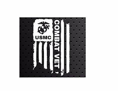 (DISTRESSED USMC UNITED STATES MARINE CORPS FLAG COMBAT VET DECAL STICKER  5
