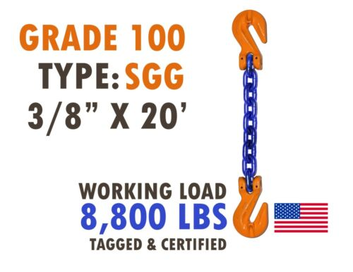 """Chain Sling GRADE 100 Style SGG 3/8"""" x 20"""