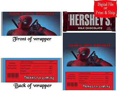 20 Personalized DEADPOOL Printed Candy Bar Wrapper Favors w/Foil or Digital File - Deadpool Party Supplies