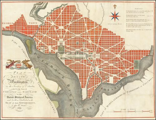 1795 antique map PRINT one of earliest plans of City of Washington DC 57332