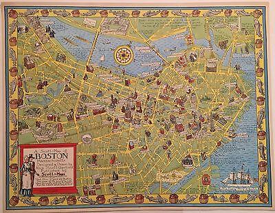 Alva Scott Garfield Map of Boston MA FINE New England ORIGINAL COLOR PRINT 1955